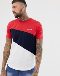Nicce London T Shirt In Red With Colour Block