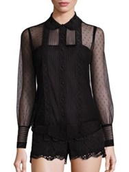 Red Valentino Sheer Button Down Blouse Black