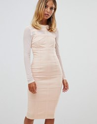 Girl In Mind Long Sleeve Grid Bodycon Dress Light Pink