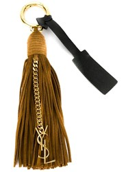 Saint Laurent 'Monogram' Tassel Keyring Nude And Neutrals