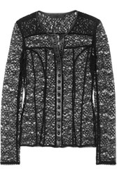 Alexander Wang Faux Leather Trimmed Stretch Lace Top Black