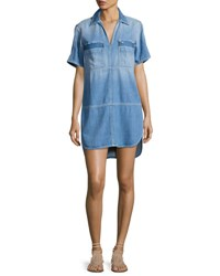 7 For All Mankind Short Sleeve Popover Denim Dress Indigo