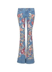 Alice Olivia 'Ryley' Floral Tapestry Embroidered Flared Jeans Multi Colour