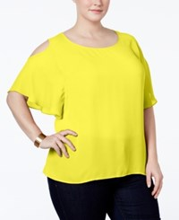 Ny Collection Plus Size Cold Shoulder Chiffon Blouse Lemon Zest