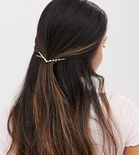 Orelia Exclusive Gold Plated Faux Pearl Embellished V Hair Clip