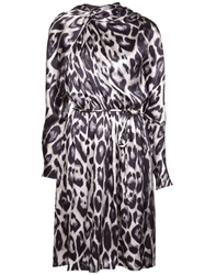Lanvin Leopard Print Flared Dress White