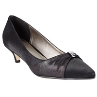John Lewis Blakemore Kitten Heel Court Shoes Black Satin