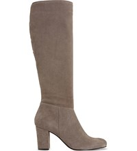 Dune Toulon Suede Knee High Boots Dark Taupe