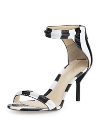 3.1 Phillip Lim Martini Striped Mid Heel Sandal Black White