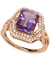 Macy's Amethyst 3 Ct. T.W. And Diamond 3 8 Ct. T.W. Ring In 14K Rose Gold