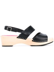 Swedish Hasbeens Chunky Heel Sandals Women Calf Leather Leather Rubber 41 Black