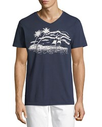 Sol Angeles Sail Away Graphic V Neck T Shirt Blue