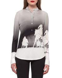 Akris Turf Print Mock Neck Top Black Moonstone Black Moonstone