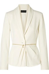 Brandon Maxwell Zip Embellished Pleated Twill Blazer Ivory