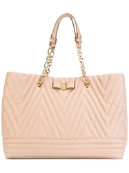 Salvatore Ferragamo Bow Detail Quilted Bag Pink Purple