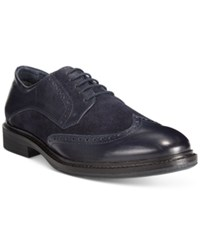 Alfani Zack Mixed Material Wingtip Derby Oxfords Only At Macy's Men's Shoes Navy