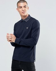 Armani Jeans Polo Shirt With Denim Collar In Navy Long Sleeves Navy