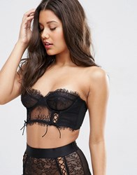 Asos Faye Satin And Lace Up Underwire Bustier Bra Black