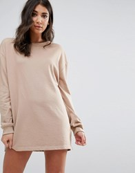 Missguided Oversized Long Sleeve Sweater Dress Beige Tan