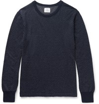 Save Khaki United Slim Fit Birdseye Cotton And Cashmere Blend Sweater Navy