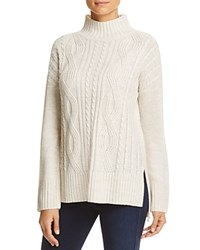 Sanctuary Mock Neck Cable Knit Sweater Marled Dark Winter White