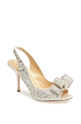 Kate Spade Women's New York 'Charm' Slingback Pump Silver Grey Glitter