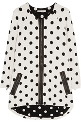 Alice Olivia Polka Dot Leather Trimmed Knitted Cardigan