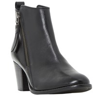 Dune Pontoon Stacked Heel Ankle Boots Black Leather