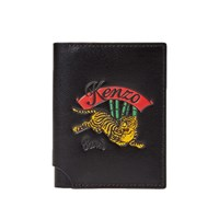 Kenzo Jumping Tiger Leather Fold Card Holder Black
