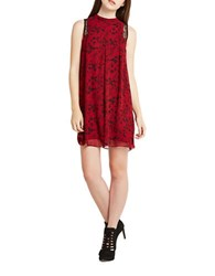 Bcbgeneration Lace Trimmed Printed Tent Dress Red