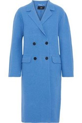 Line Double Breasted Cotton And Wool Blend Coat Azure