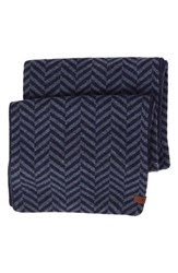 Men's Ben Sherman Reversible Chevron Knit Scarf Blue Navy Blazer