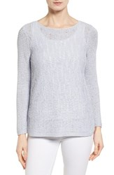 Nic Zoe Women's Sheer Dusk Cotton Blend Layering Sweater Sky