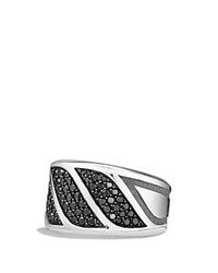 David Yurman Graphic Cable Band Ring With Black Diamonds Black Silver