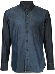 Cerruti 1881 Fitted Button Down Shirt Cotton Xl Blue