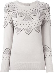 Laneus Studded Jumper Nude And Neutrals