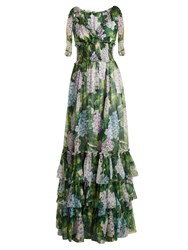 Dolce And Gabbana Hydrangea Print V Neck Smocked Waist Silk Gown Green Print