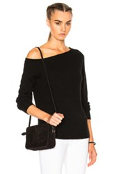 James Perse Off Shoulder Cashmere Sweater In Black