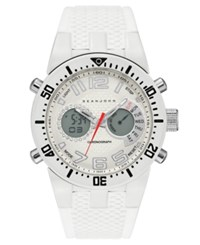 Sean John Men's Analog Digital Lenox White Silicone Strap Watch 46Mm