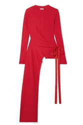 Rosetta Getty Draped Asymmetric Stretch Cotton Jersey Wrap Top Red