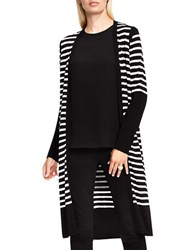 Vince Camuto Striped Maxi Cardigan Rich Black