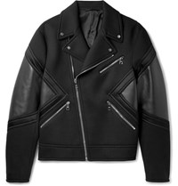 Neil Barrett Leather Panelled Bonded Jersey Biker Jacket Black
