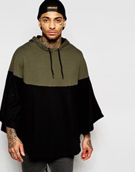 Asos Zip Up Hooded Cape With Contrast Panel Black