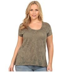Dkny Plus Size Burnout Sharkbite Tee Light Military Women's Clothing Brown