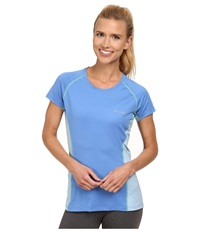Columbia Freeze Degree Iii S S Tee Harbor Blue Air Chameleon Green Stitch Women's Short Sleeve Pullover