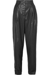 Tibi Pleated Faux Leather Tapered Pants Black