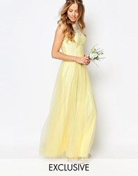 Chi Chi London Bardot Neck Sleeveless Maxi Dress With Premium Lace And Tulle Skirt Pastel Yellow