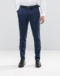 New Look Skinny Fit Smart Trousers In Navy Blue Navy