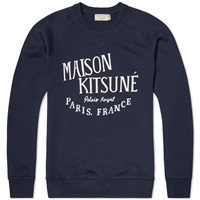 Maison Kitsune Palais Royal Crew Sweat Navy And White
