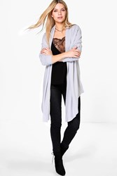 Boohoo Fine Knit Waterfall Cardigan Grey